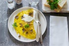 Omelet met truffel en peterselie, met zure room, brood en een glas zoet water wordt gediend dat royalty-vrije stock fotografie