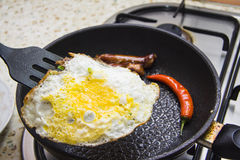 Omelet met worsten Stock Fotografie