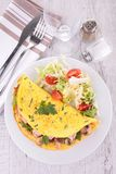 Omelet with mushroom and ham Royalty Free Stock Image