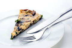 Omelet with mushroom and spring onion Royalty Free Stock Photography