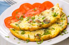Omelet with mushrooms Royalty Free Stock Images