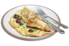Omelet with Mushrooms and Cheese Stock Images
