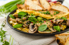 Omelet with mushrooms, lamb's lettuce, herbs and chilli Royalty Free Stock Images
