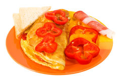 Omelet on the plate. Isolated on white background Stock Photography