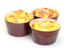 Omelet in pot baked in the oven Stock Photos