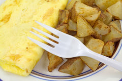 Omelet With Potatoes Fork Close View Royalty Free Stock Photo