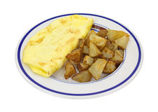 Omelet With Potatoes On Plate Side View Stock Photography