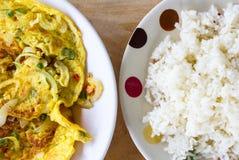 Omelet&-Reis Lizenzfreie Stockbilder