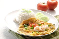 Omelet with rice and fish sauce Royalty Free Stock Photography