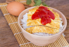 Omelet on rice popular traditional Thai fast food Royalty Free Stock Photos
