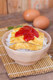 Omelet on rice popular traditional Thai fast food Royalty Free Stock Images