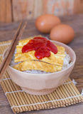 Omelet on rice popular traditional Thai fast food Stock Images