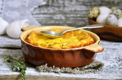 Omelet with ricotta and thyme. Royalty Free Stock Photos