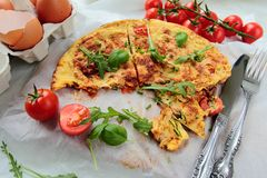 Omelet with rucola Royalty Free Stock Photos