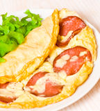 Omelet with salami stock image