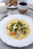 Omelet with salmon and coffee Royalty Free Stock Images
