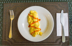 Omelet with sauce Royalty Free Stock Image