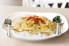 Omelet served Stock Photos