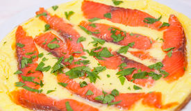 Omelet with smoked salmon Royalty Free Stock Photography