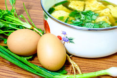 Omelet soup Stock Image
