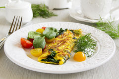 Omelet with spinach Stock Photo