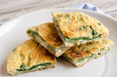 Omelet with spinach Royalty Free Stock Photos