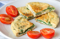 Omelet with spinach Royalty Free Stock Images