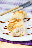 Roll of the omelet with the cream cheese Royalty Free Stock Photography
