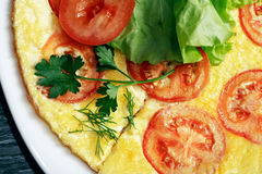 Omelet With Tomatoes Royalty Free Stock Photography