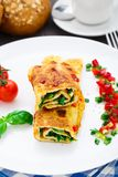 Omelet with vegetables and herbs Royalty Free Stock Images