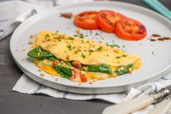 Omelet with vegetables Royalty Free Stock Images