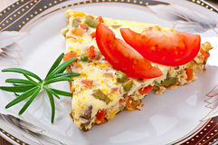 Omelet with vegetables Stock Images