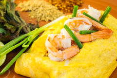 Omelet with vegetables and shrimp. Royalty Free Stock Photography