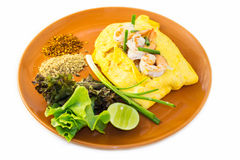 Omelet with vegetables and shrimp. Royalty Free Stock Image