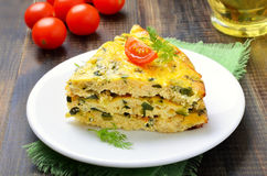 Omelet on white plate Royalty Free Stock Photography