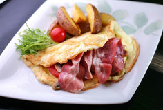 Omelet With A Bacon Royalty Free Stock Image