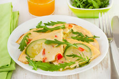 Omelet with zucchini, pepper Royalty Free Stock Image