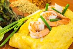 Omeleta com vegetais e camarão Fotografia de Stock Royalty Free