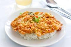 Omeleta e arroz cozinhado Imagem de Stock Royalty Free