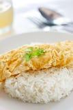 Omeleta e arroz cozinhado Foto de Stock Royalty Free