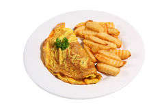 Omelete & Fries Stock Images