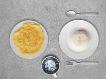 Omelete and rice Thai simple meal. Royalty Free Stock Image