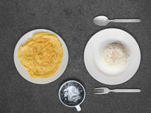 Omelete and rice Thai simple meal. Royalty Free Stock Photography