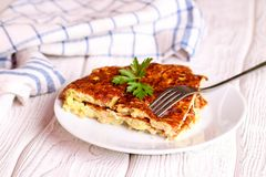 Omelete with zuccini, close up. Horizontal stock image