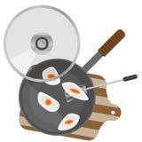 Omelettägg lagas mat i en stekpanna vektor illustrationer