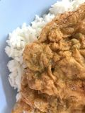 Omelettägg på vita rices royaltyfria foton