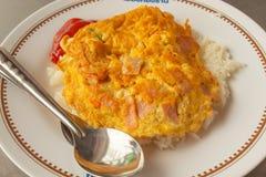 Omelett auf Reis, thailändisches Lebensmittel stockbild