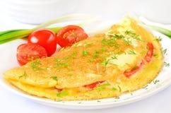 Omelett med örter och grönsaker Fotografering för Bildbyråer