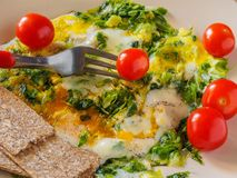 Omelett med gräsplaner, körsbärsröda tomater, brödkorn Royaltyfri Foto