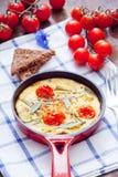 Omelett med körsbärsröda tomater Royaltyfri Bild